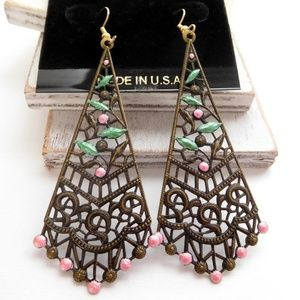 Gothic Victorian Antiqued Gold Pink Rose Earrings